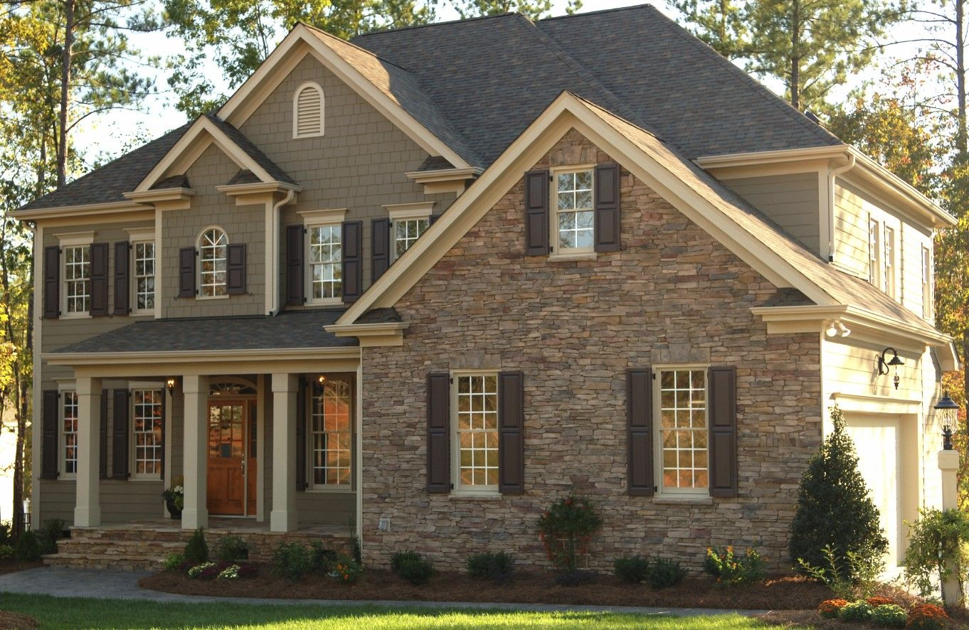 Mixed stone and shake siding home exterior pinterest for Green siding house