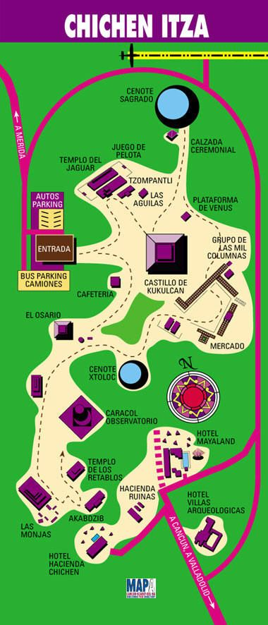 Map Of Chichen Itza Ruins Highlypictures Photos Mexico - Chichen itza map