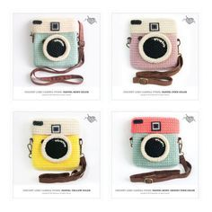 Crochet Lomo Camera Purse/ Pastel Mint Color #camerapurse