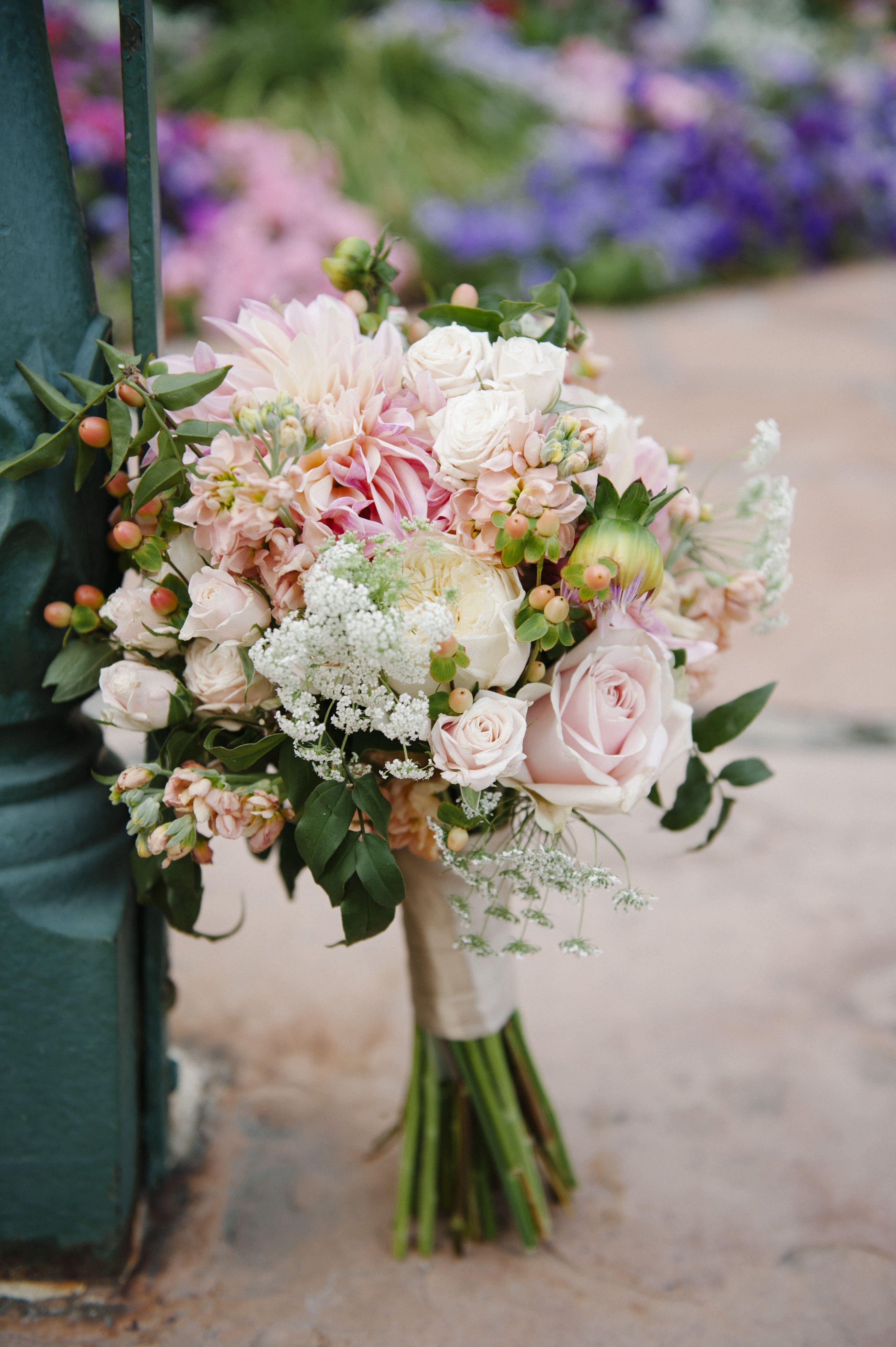 blush dahlia wedding bouquet wedding flowers utah calie ...