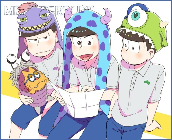 Osomatsu san bros with monster university hats m awwww osomatsu san bros with monster university hats m awwww voltagebd Image collections