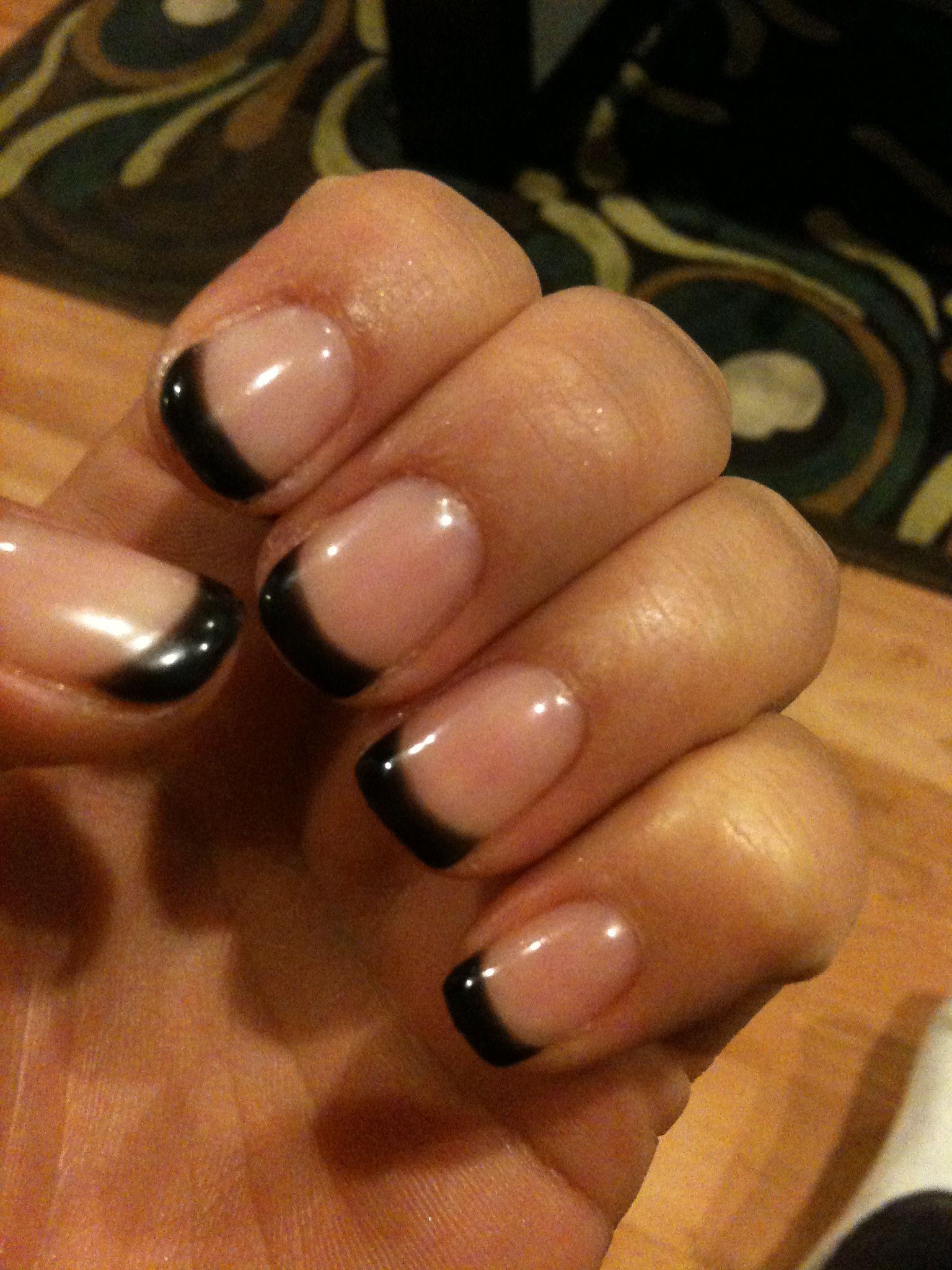 Black French short nails | Nails | Pinterest | Short nails, Sexy ...