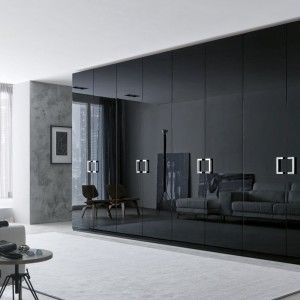 Modern And Fancy Bedroom Wardrobes And Closets Elegant Honeycomb Sandwich Glossy Black Large Bedroom Wardrobe Design With Eight Doors And Floor Up To