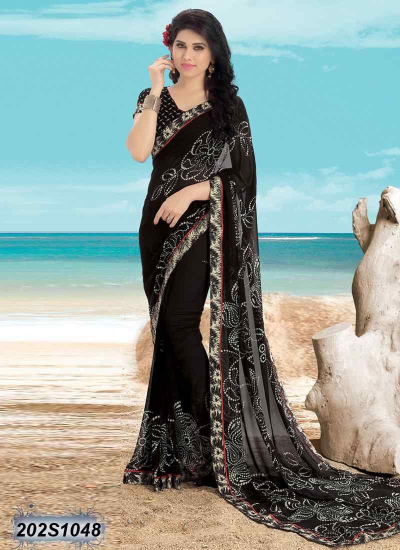 1295f3167 Beauteous Maroon   Black Coloured Poly Silk Casual Saree