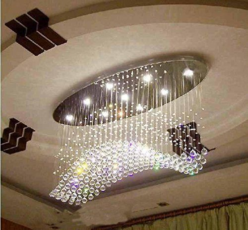 7pm W40 Modern Wave Oval Rain Drop Clear Led K9 Crystal Chandelier