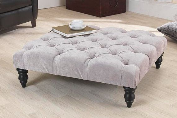 3ft Jacobs Grey Velvet Chesterfield Footstool Coffee Table With
