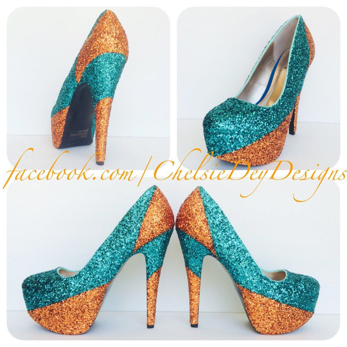 e8351498861c Glitter High Heels - Teal Blue White Ombre Peep Toe Pumps - Blue Wedding  Shoes - Sparkly Prom Heels - Open Toe Platform Pumps