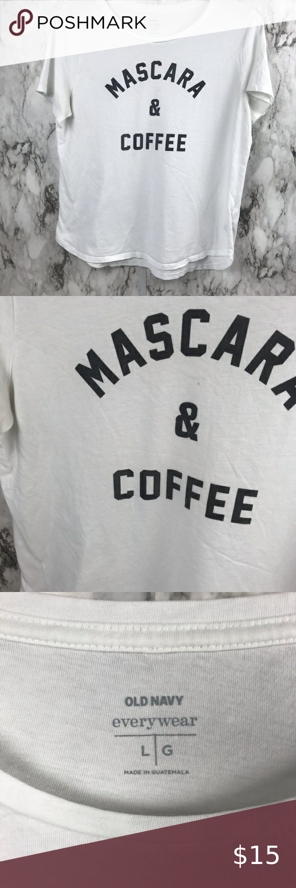 """Mascara and Coffee Blouse Shirt Tee White L Size Large  Pit to pit 20"""" Length is 25"""" #003 Old Navy Tops Tees - Short Sleeve"""