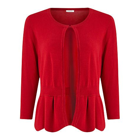 Buy Precis Petite Scallop Peplum Cardigan, Red Online at johnlewis ...