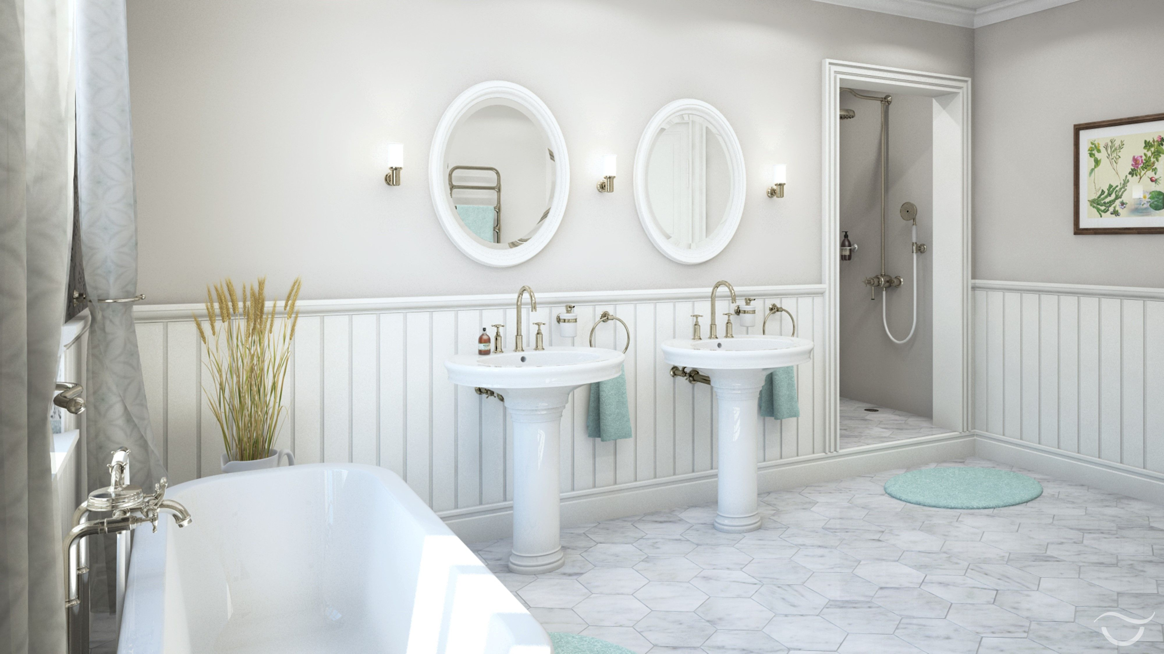Haus badezimmer design die standwaschbecken verleihen dem landhausbadezimmer seine eigene