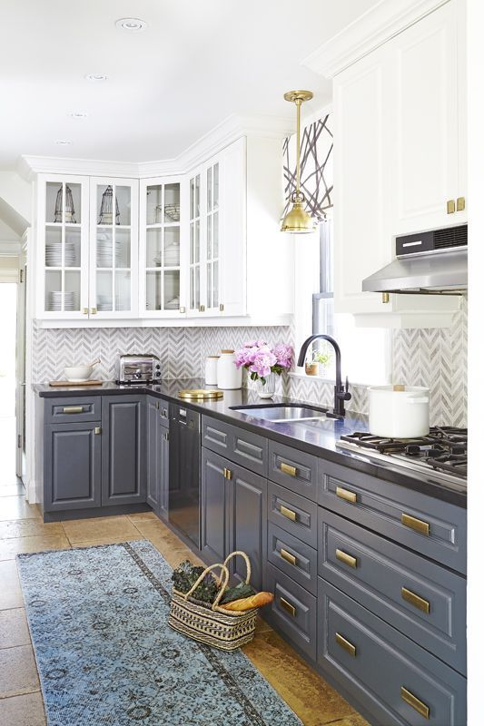 Contrast Colors In The Kitchen With Dark Grey Base Cabinets And