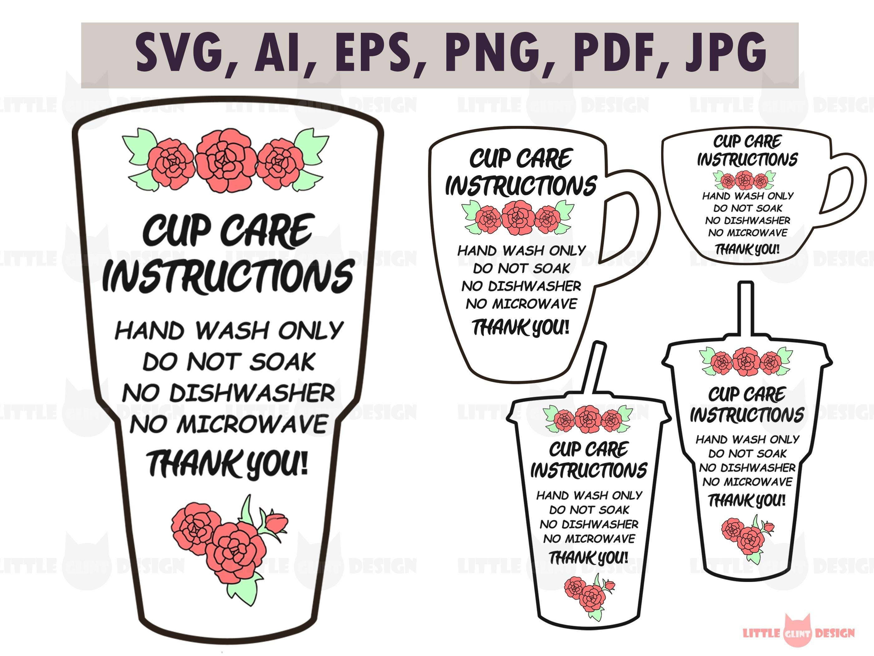Flower Cupcare Cards Rose Cup Care Svg Hand Wash Only Svg Etsy In 2021 Printable Cups Svg Wash