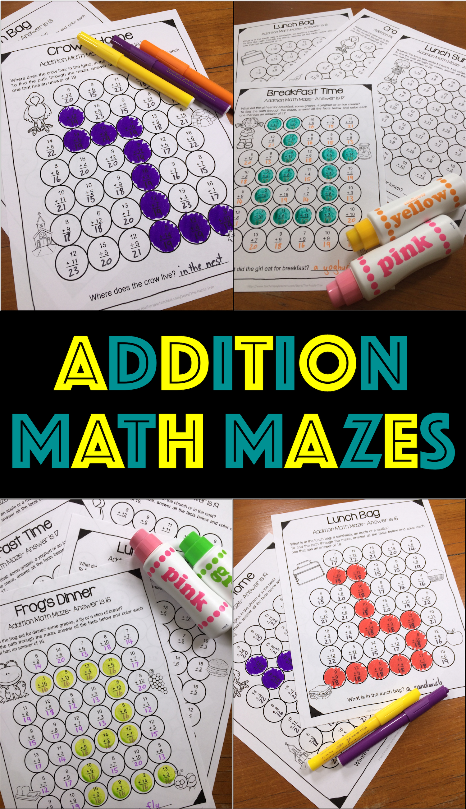 Addition Worksheets Within 20