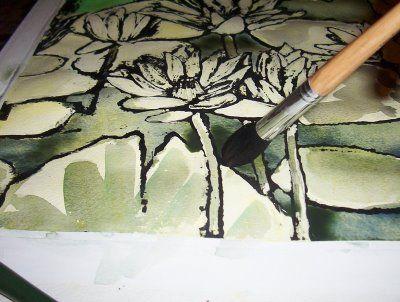 Ink Tempera Resist Technique Process School Art Projects Art
