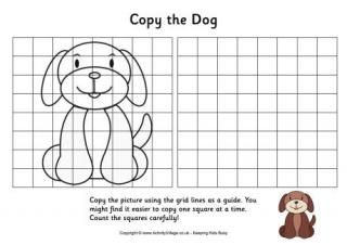 The grid copy puzzles require kids to copy the pictures