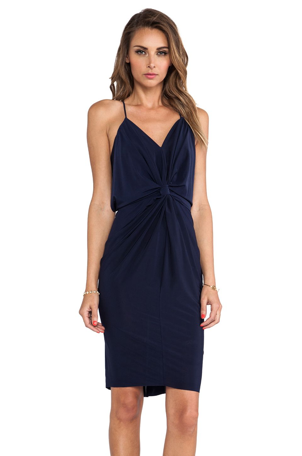 T Bags Losangeles Knot Front Knee Length Dress In Navy Revolve