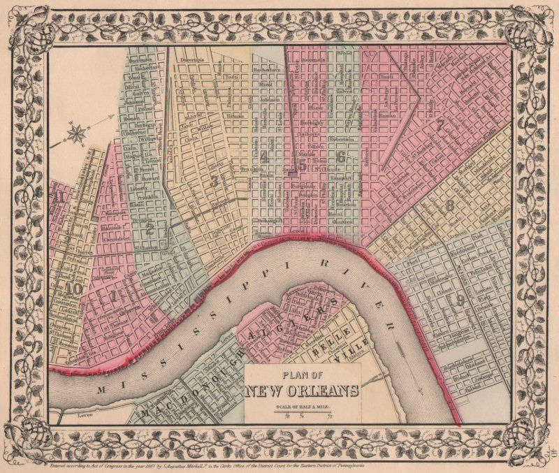 New Orleans Map New Orleans Map Map Murals Old Map