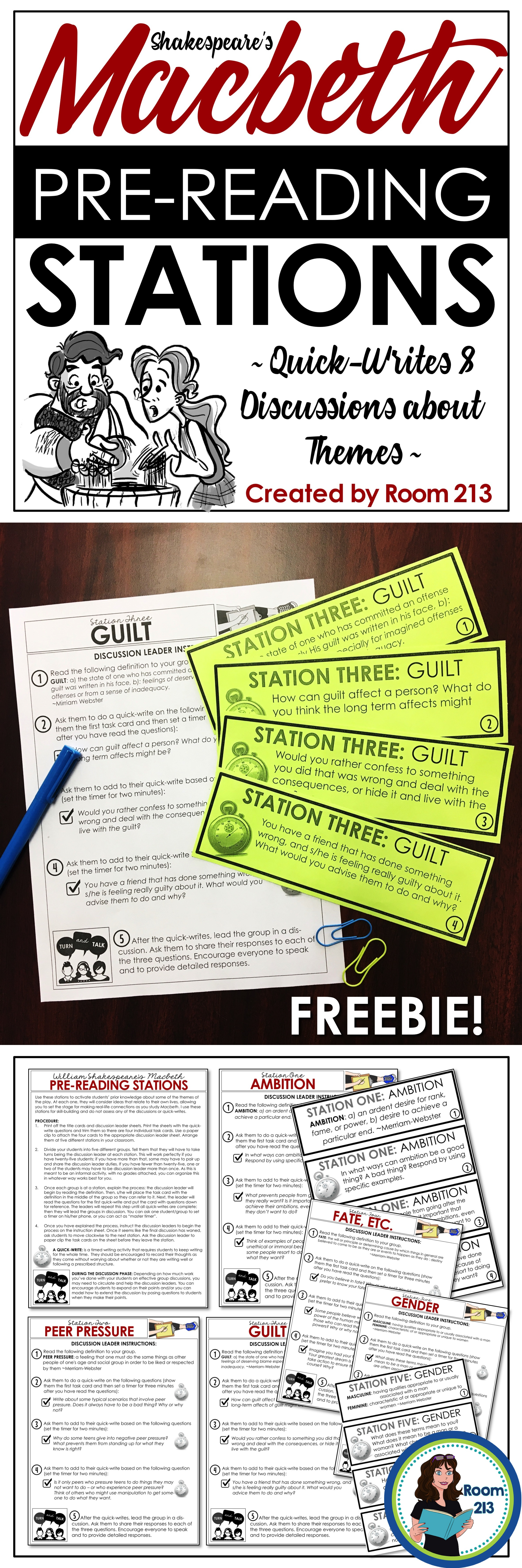 Teaching Macbeth Use This Free Pre Reading Activity To Get Your Students Focused On Important Reading Stations Teaching Shakespeare Active Learning Strategies What are some pre reading activities