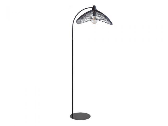 Lampadaire Droit En Metal Noir Filaire Hauteur 175cm Kasteli Noir Noir Lampadaire Lampes De Table Sans Fil Metal Noir