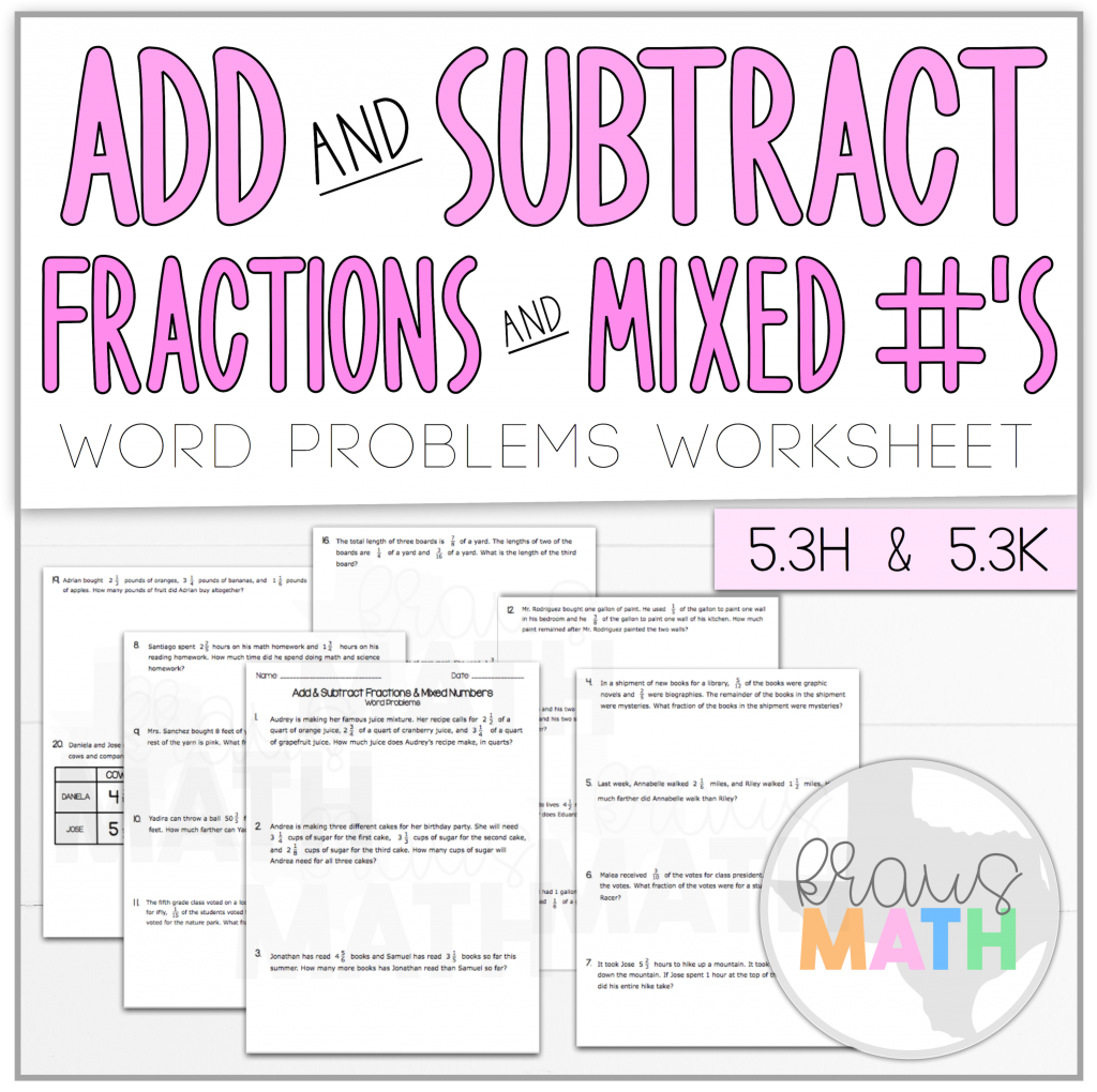 Add Amp Subtract Fractions Amp Mixed Numbers Word Problems