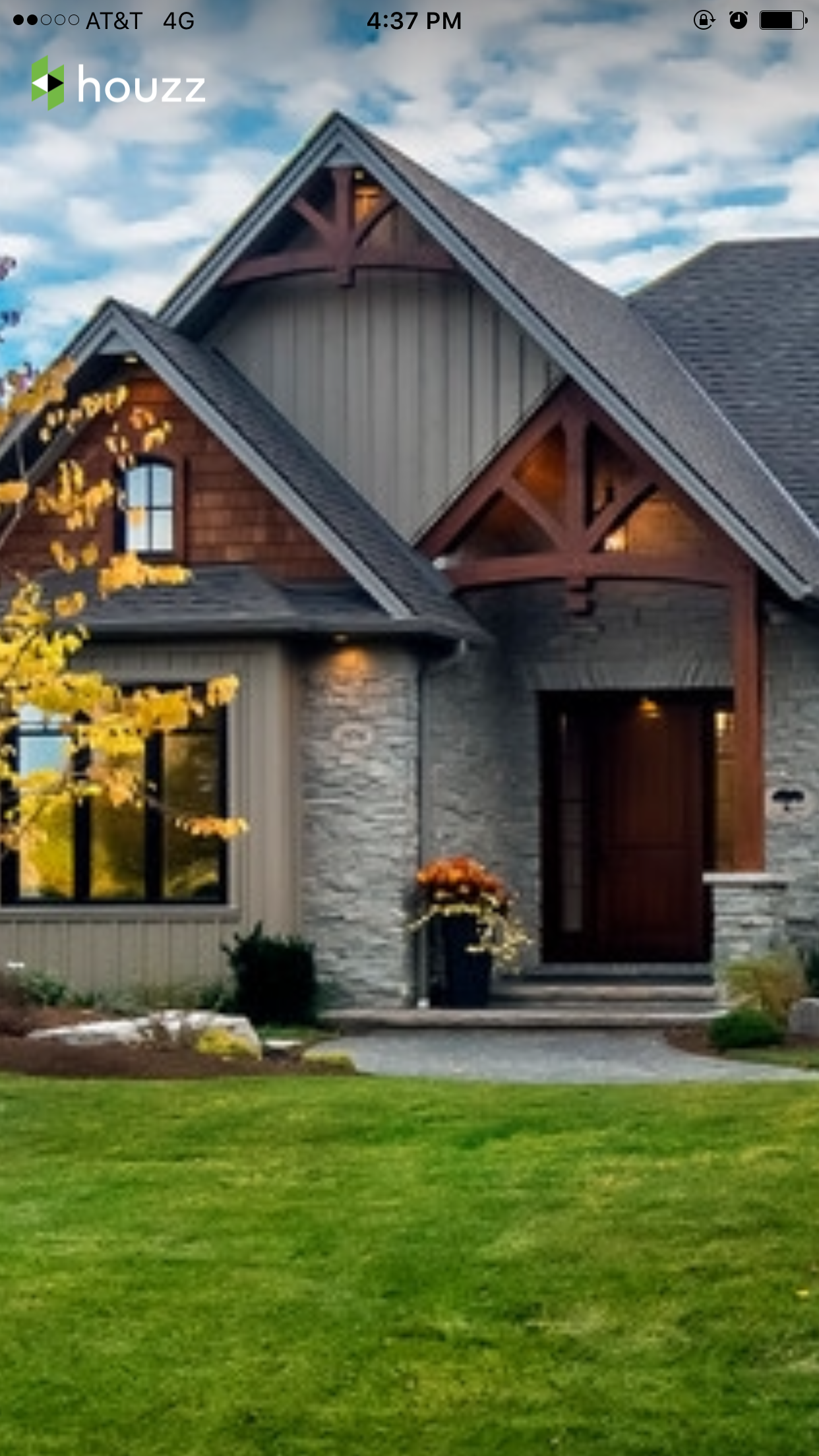 Wrong house style but  like the combination of gray siding and wood accents also rh pinterest