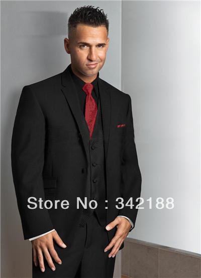 Custom Made Tailcoat Black Cheap Wedding Groom Tuxedo Best Man Notch Lapel
