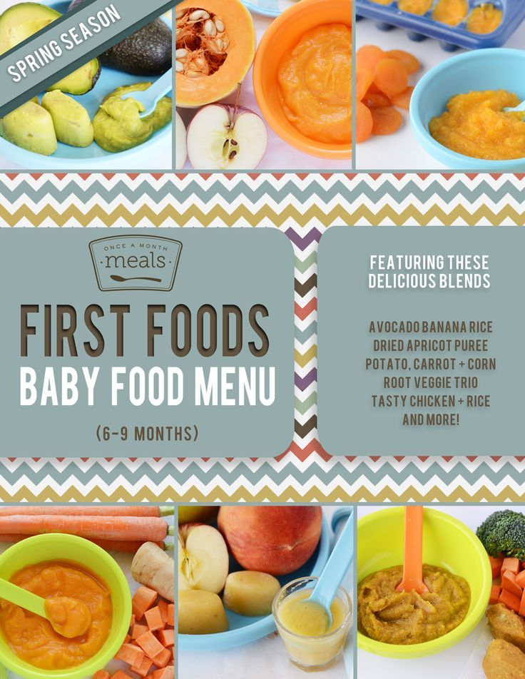 First Foods 6-9+ Months Spring Baby Food Menu - homemade ...