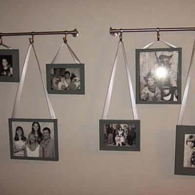 Hanging Pictures With Ribbon Photo Wall Diy Home Decor