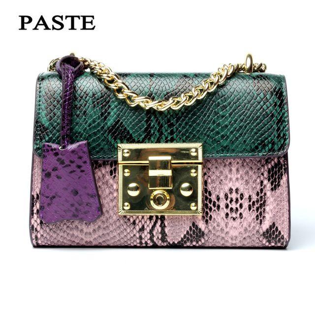 8a6752087d27 Лидер продаж; женская сумка из натуральной кожи серпантин панелями сумка  женская сумка маленький цепь сумка