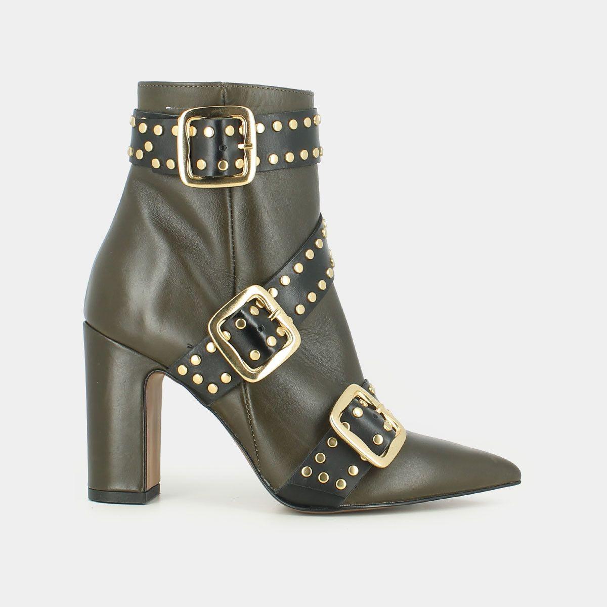 bfb2a0253fa7 Boots à boucles en cuir kaki - Jonak kaki noir