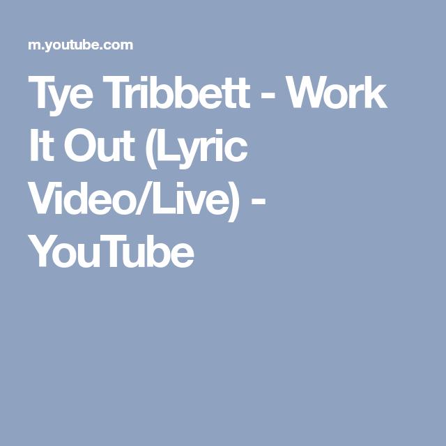 Tye Tribbett Work It Out Lyric Video Live Youtube Tye Tribbett Praise Music Lyrics