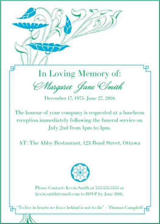 Memorial Service Invitation Wording 39 Best Funeral Reception Invitations  Pinterest