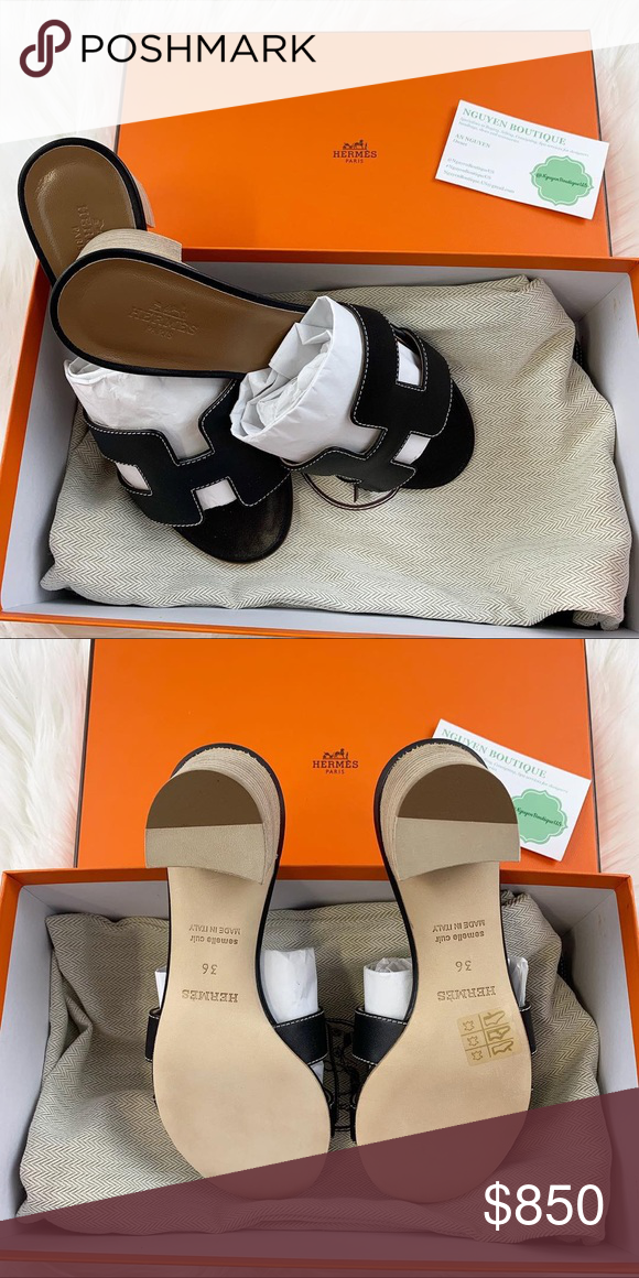 d7e1b3f42802 HERMES Oasis - Black - Size 36 HERMES Oran - Gold - Size 37.5 ✨BRAND NEW✨  Please know your Hermes size. Comes with box and 2 dust bags.