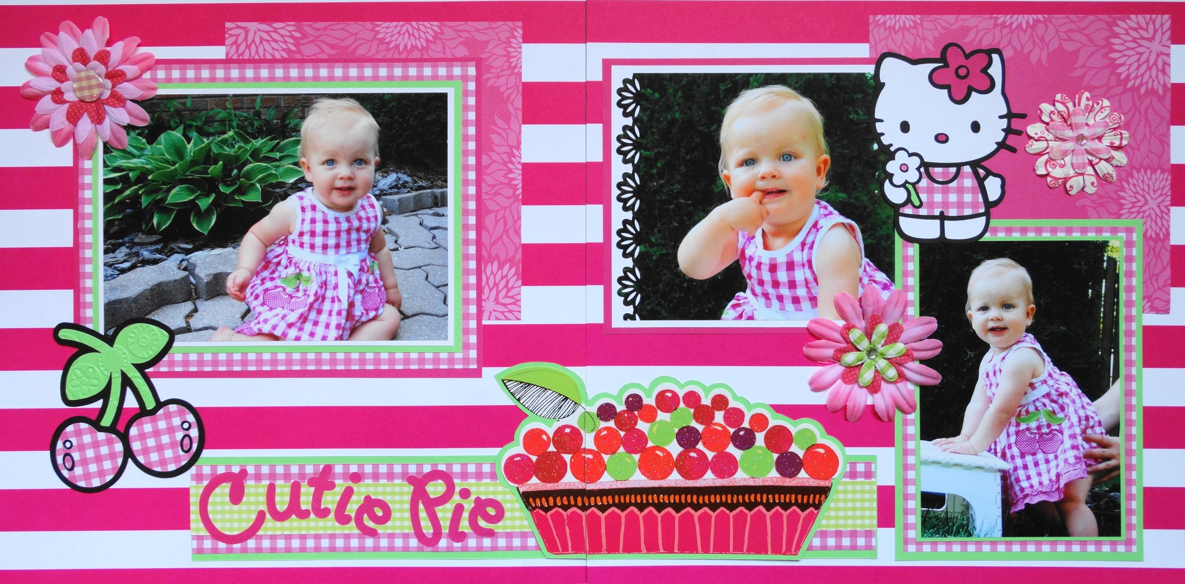 Hello kitty scrapbook ideas - Scrapbook Page Cutie Pie 2 Page Girl Layout With Hello Kitty Cherries And