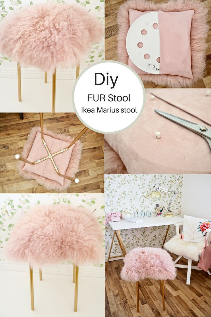 See how I hacked a 350 Ikea Marius stool into a funky pink and gold Fur Stool Using some Rustoleum bright gold spray paint and a Mongolian sheepskin cushion from TK Maxx...