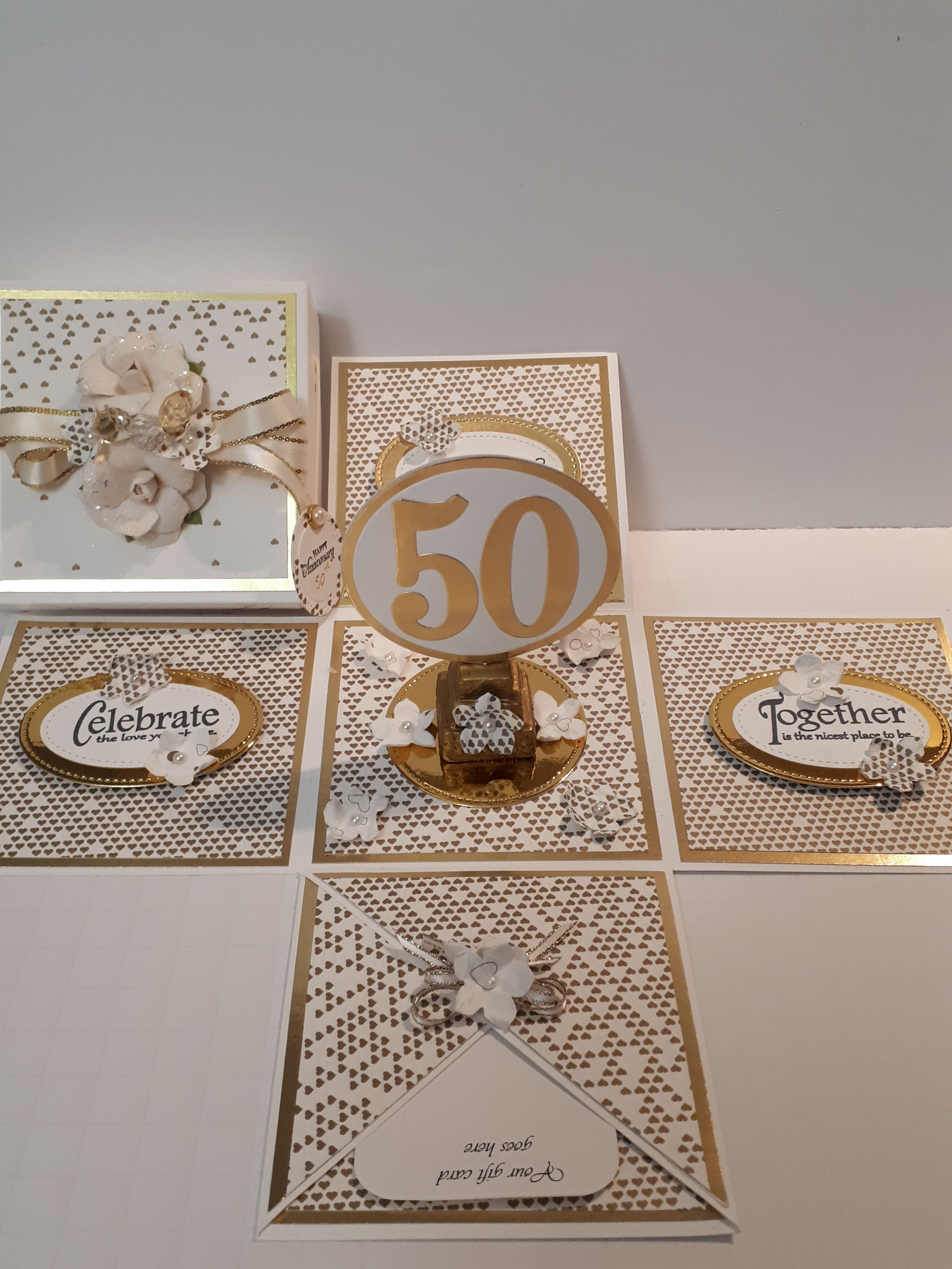 50th Wedding Anniversary Exploding Box Card Exploding Box Card Anniversary Cards Handmade 50th Anniversary Cards