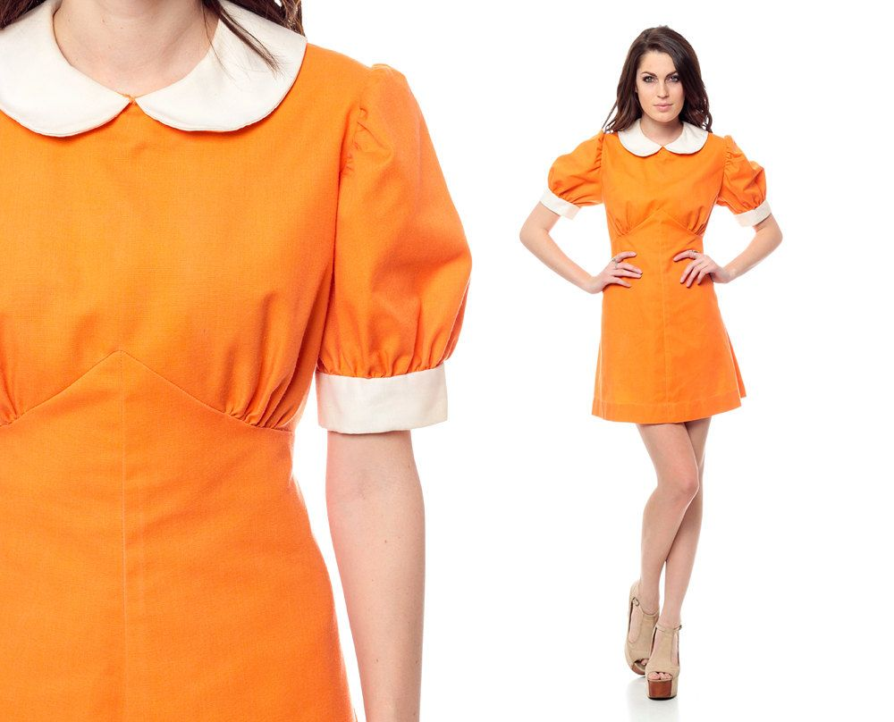 Peter Pan Dress 60s Mini Orange Babydoll Puff Sleeve 1960s Mod Collar Empire Waist Vintage Twiggy Collared Minidress Medium L Peter Pan Dress Dresses 60s Dress