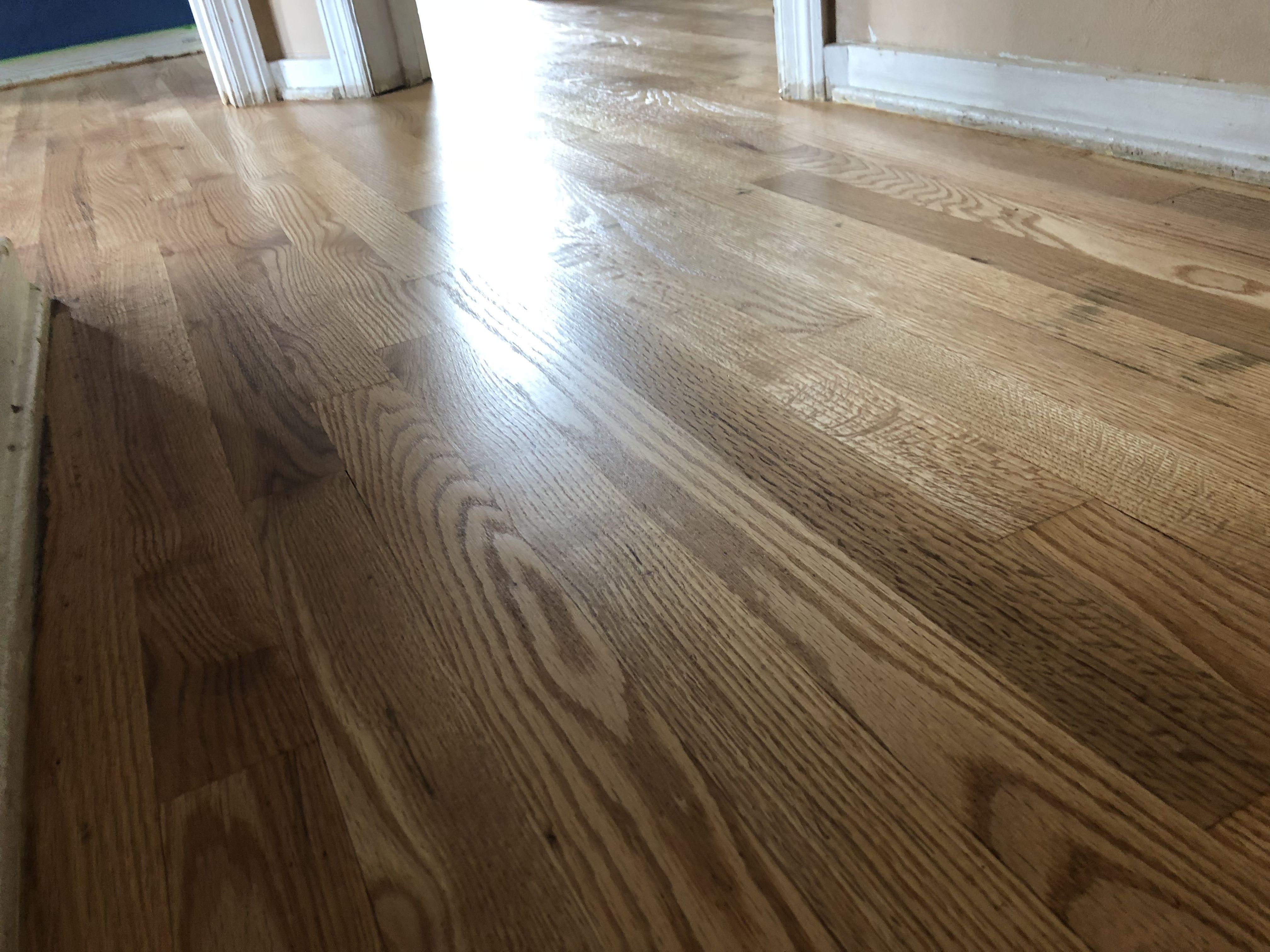 Semi gloss finish hardwood floor refinish in Grand Rapids