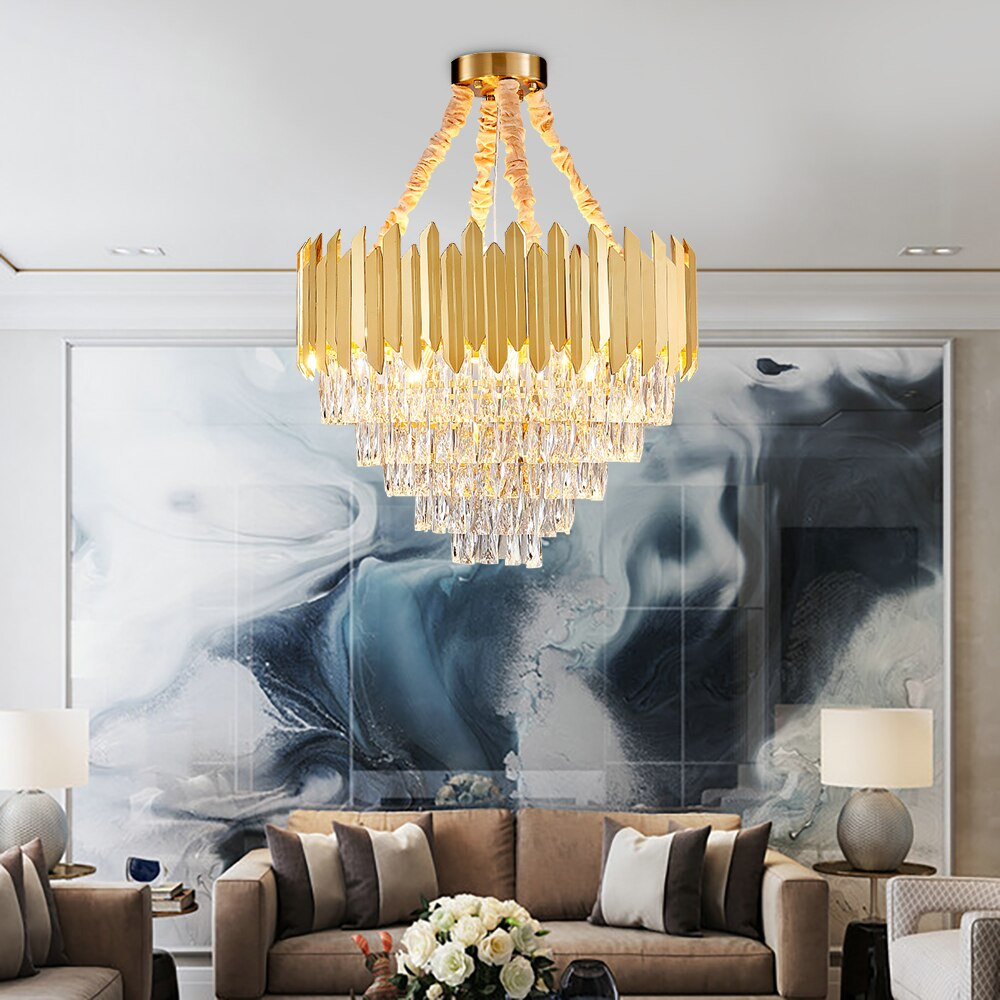 Contemporary Luxury Gold Crystal Chandelier Lighting For Living Dining Room Led Chandeliers Luxury Chandelier Chandelier In Living Room Dining Room Chandelier