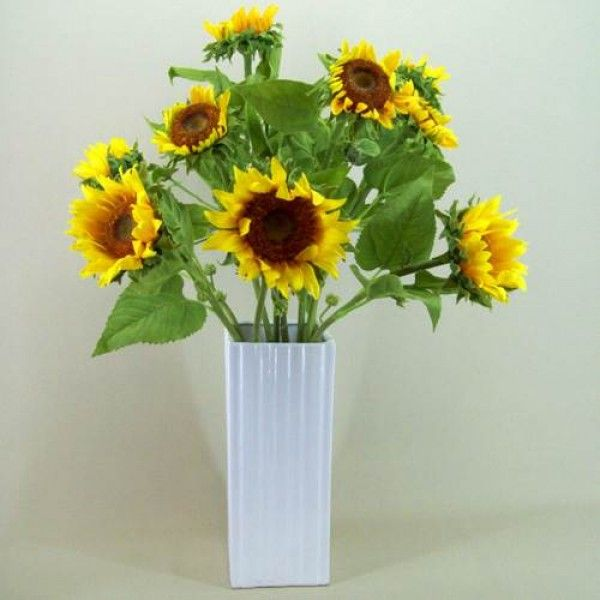 Large Statement Silk Sunflower Vase Sun004 Sunflower Arrangements Artificial Flower Arrangements Sunflower Vase