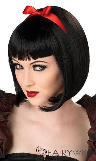 10 Inch Capless Straight Black Synthetic Hair Costume Wigs Short Wigs Costume Wigs Wigs
