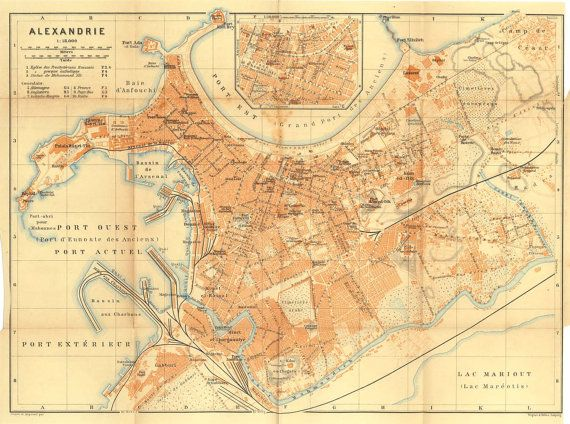 1914 Old City Map of Alexandria Egypt Street Plan Port