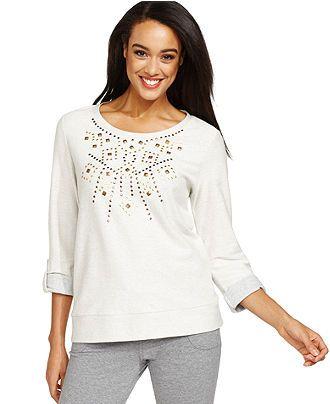 Style&co. Sport Three-Quarter-Sleeve Studded Sweatshirt - Active Tops - Women - Macy's