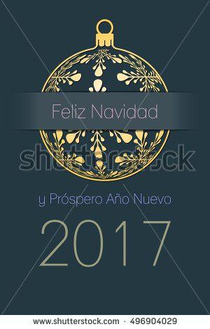 Spanish merry christmas and happy new year 2017 elegant greeting spanish merry christmas and happy new year 2017 elegant greeting card gold silhouette of christmas ball with spanish text feliz navidad y prospero ano m4hsunfo
