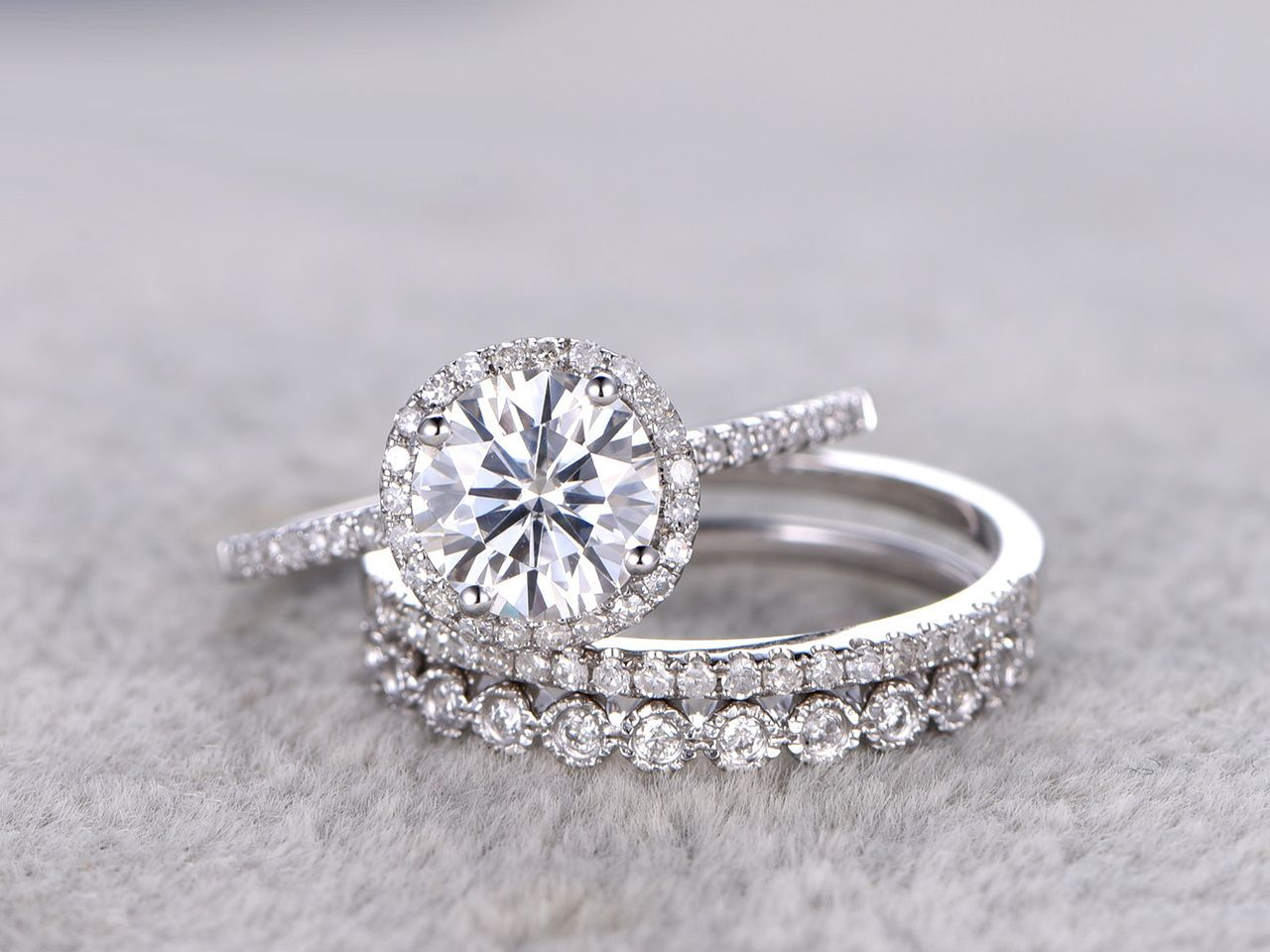 3pcs Moissanite Wedding Ring Set Diamond Matching Band White Gold