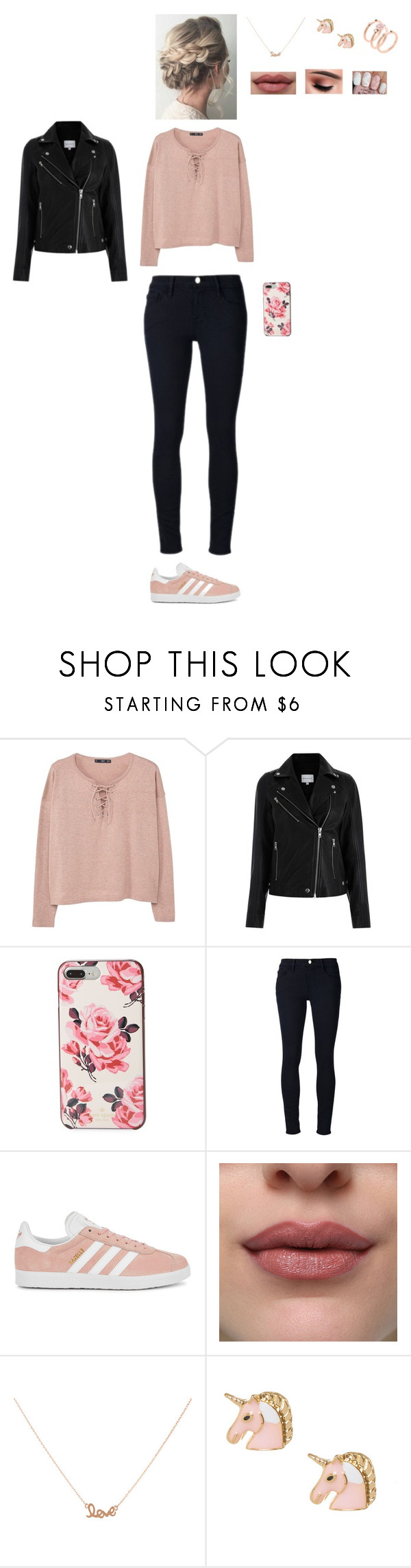 """""""All about pink 🌸🌸🌸"""" by leacousty55 ❤ liked on Polyvore featuring MANGO, Kate Spade, Frame, adidas Originals, Accessorize and Michael Kors"""