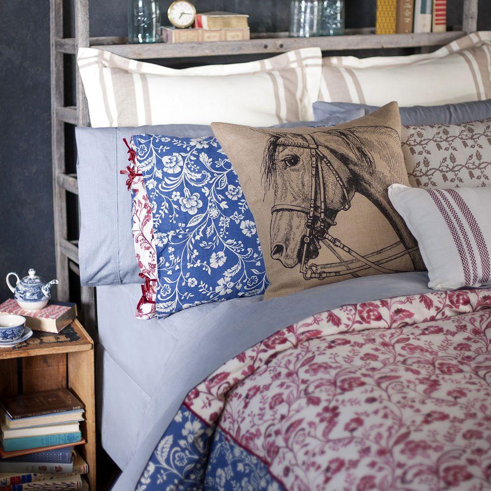 7pc lady antebellum delta fullqueen comforter set red blue paisley rustic horse