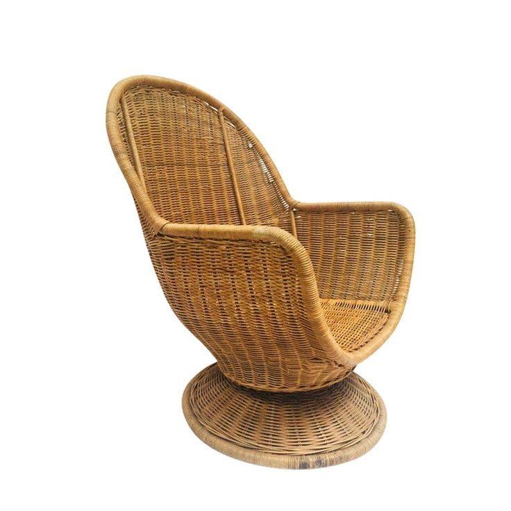1980s vintage sculpted rattan egg chair swivel wicker club