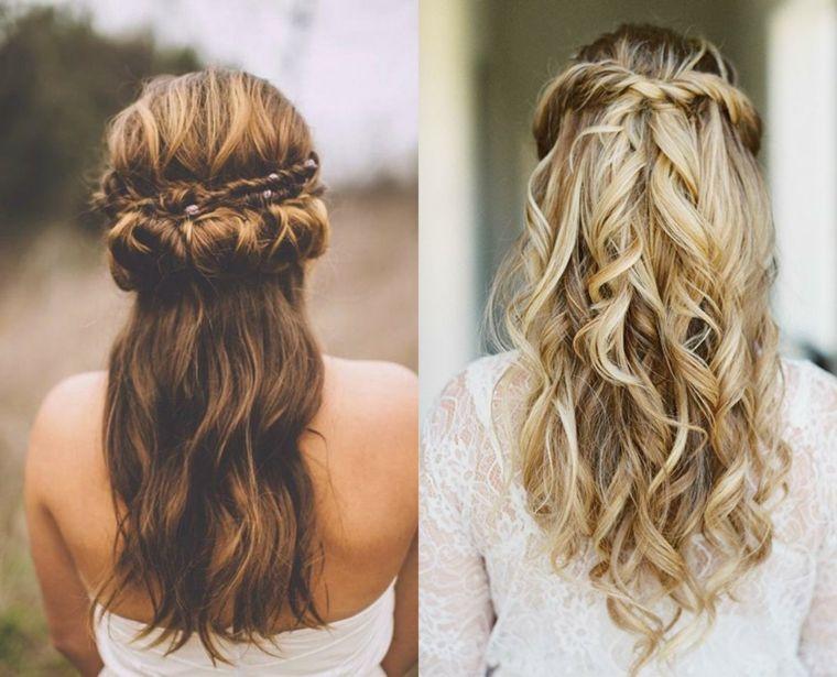 Peinados de boda semirecogidos con trenza