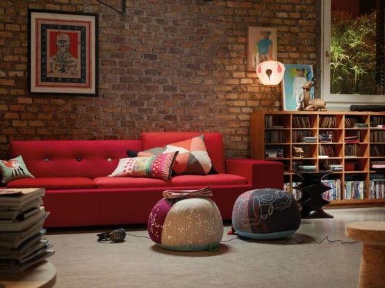 59 Cool Living Rooms With Brick Walls Brick Wall Living Room Brick Living Room Brick Interior Wall